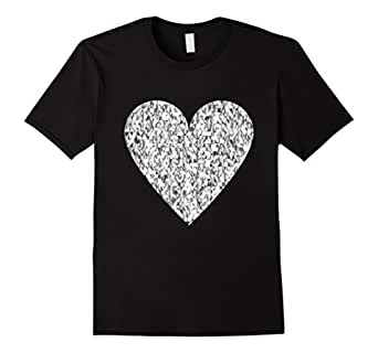 Mens Bright Silver Heart t-shirt Amazing Unique Love Symbol tee 2XL Black