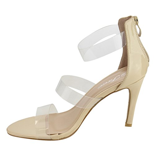 Forever If55 Womens Clear Strappy Back Rits Naaldhak Sandalen Beige