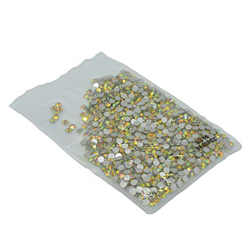 (Queenme 1440 Pieces SS16 Nail Crystals Flatback 4mm Nail Art Rhinestones Golden Green Round Glass Gems Charms Stones for Nails Decoration Makeup Clothes Shoes 16SS)