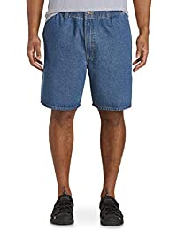 by DXL Big and Tall Elastic-Waist Denim Shorts, Med Stonewash Denim