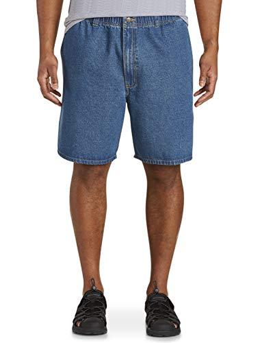 Harbor Bay by DXL Big and Tall Elastic-Waist Denim Shorts, Med Stonewash Denim, 2XL ()