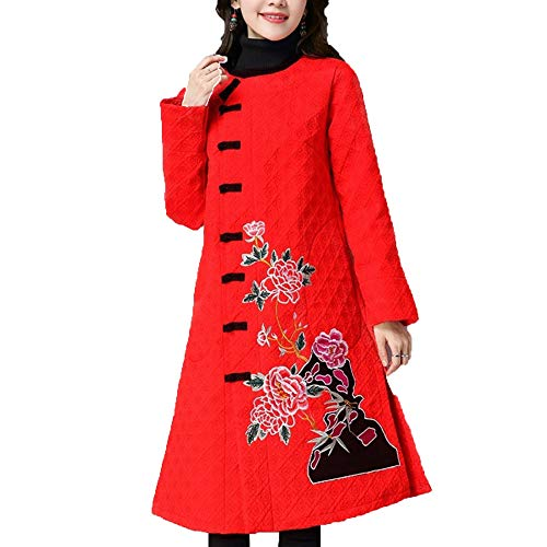 Trench Largo Las Mujer Vestido Abrigos Red De Chaqueta Bordado Señoras Niais wgOtBa