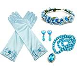 ALEAD Girls Long Satin Princess Dress Up Diamonds Bows Gloves for Kids (blue set)