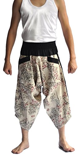Siam Trendy Men's Japanese Style Pants One Size Two Tone bamboo design off white by Siam Trendy (Image #1)