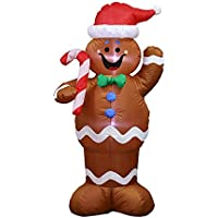 1.5M Long Giant Christmas Inflatable Lighted Xmas Gingerbread Man,Yard Garden Party Decoration