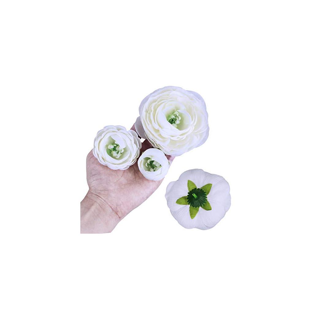 Supla 30 Pack Artificial Ranunculus Flower Heads Ranunculus Buds Silk White Ranunculus Flowers Millinery Flowers for Weddings Floral Arrangement Crowns Bouquets Hair Accessories Corsages Crafts