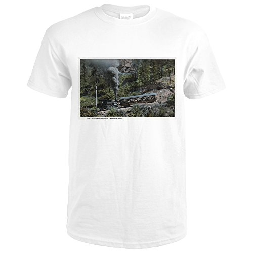 Pikes Peak, Colorado - Cog Wheel Train Climbing Up (Premium White T-Shirt (Cog Wheel Train)