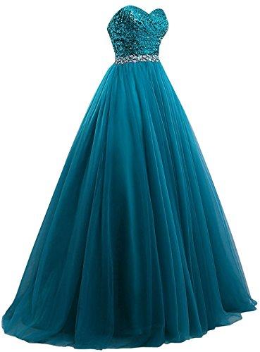 Robes De Bal Xingmeng Bustier Sequin Robes De Soirée Perles Turquoise Longue