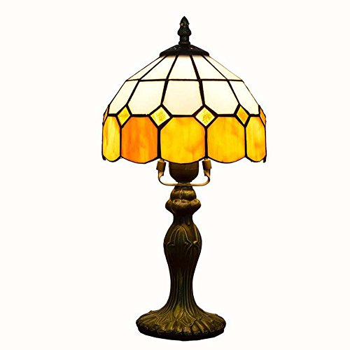 8 Inch Tiffany Style Table Lamp, Northern Europe Stained Glass Desk Lamp, Eye-Care Children's Room Table Lamps, Lighting,Bedroom/Bedside/Living Room/Studyroom Decorative Table Lights, E271 GJX