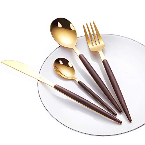 WORTHBUY 24-Piece Flatware Set Stainless Steel Cutlery Service for 6, Including Fork Spoon Knife Tableware, Mirror Polished, Dishwasher Safe (Golden) (Flatware Unique)