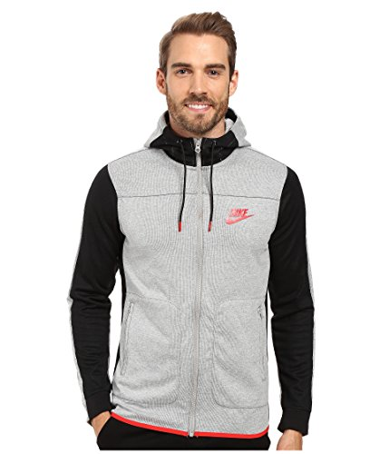 Nike Men's Sportswear Advance 15 Hoodie Dark Grey Heather/Black/University Red 804852-063 (XX-Large)