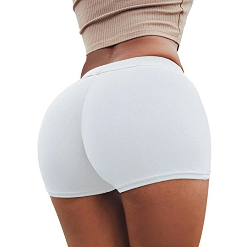 Women Short Yoga Pants Daoroka Solid Waist Band Skinny Stretchy Gym Workout Athletic Sport Performance Running Exercise Short Pants Trouser (L, - Skinny Mesh