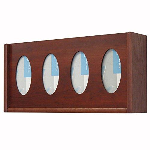 Wooden Mallet 3-Pocket Oval Glove/Tissue Box Holder, Mahogany (Pocket Glove Box)