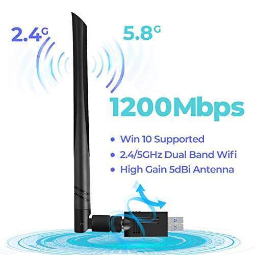 Wireless USB 3.0 WiFi Adapter 1200Mbps, WiFi Dongle Dual Band 2.4GHz/5GHz with 5dBi Antenna for Desktop Laptop PC Support Windows 10/8/8.1/7/Vista/XP/Mac 10.5-10.13