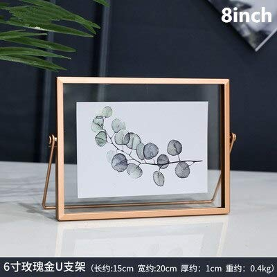 MMYU Photo Frame Black Metal Photo Frame Plant Specimen Holder Rose Gold Picture Frame Standing Home Decoration Creative Pendulum