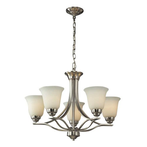 Elk 11523/5 Malaga 5-Light Chandelier with Opal White Glass Shade,