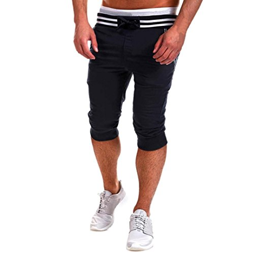 Forthery Mens Casual Sport Gym Trousers Loose Pants Jogger Shorts (XXL, Black)