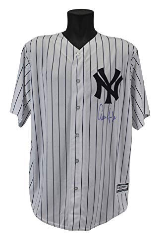 Yankees Aaron Judge Autographed Signed Majestic Coolbase White Pinstripe Jersey - Beckett Authentic Autographed Majestic Authentic Pinstripe Jersey