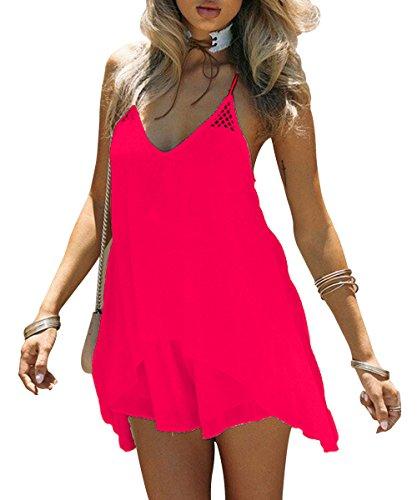 Kingfung Women's Summer Casual Sundress Chiffon Sleeveless Tank Beach Shift Dress(Fluorescent (Dress Ups For Adults)