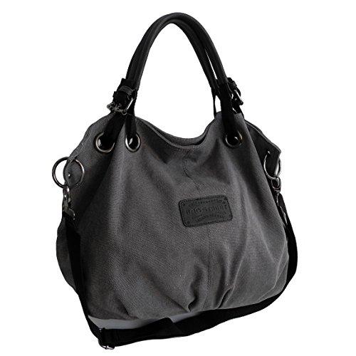 Bag Street - präsentiert von becoda24 - Bolso de asas de Lona para mujer Marrón gris gris
