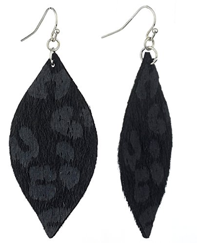Almond Shaped Earrings - Women's Leopard Print Furry Feel Almond Shaped Dangle Pierced Earrings, Black