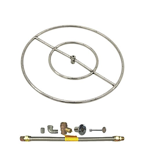 Spotix HPC Round Fire Pit Burner Kit (FPS24HCKIT-NG-MSCB), 24-Inch Burner, High Capacity, Match Light, Natural Gas