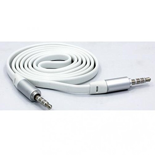 White Flat 6ft Long Aux Cable Car Stereo Wire Audio Speaker