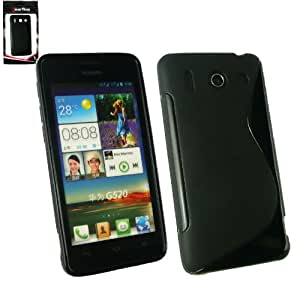 Emartbuy® Huawei Ascend G520 Wave Pattern Gel Skin Cover Black