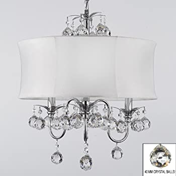 Modern contemporary white drum shade crystal ceiling chandelier modern contemporary white drum shade crystal ceiling chandelier pendant lighting fixture w 18 h mozeypictures Image collections