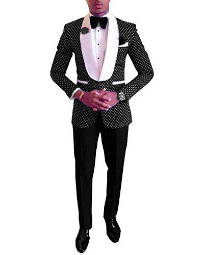 Wedding Suits Brides (Pretygirl Men's Polka Dots Groomsmen Shawl Lapel Suit/Bridegroom/Wedding/Prom Suits (Suit+Pants) (42US/UK & 52EU,Black))