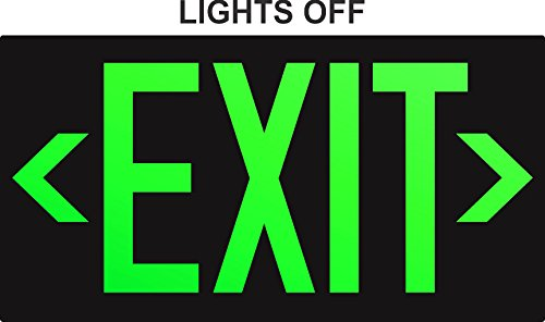 Photoluminescent Exit Sign Red W/Holes and Hardware - Aluminum Code Approved UL 924/IBC/NFPA 101