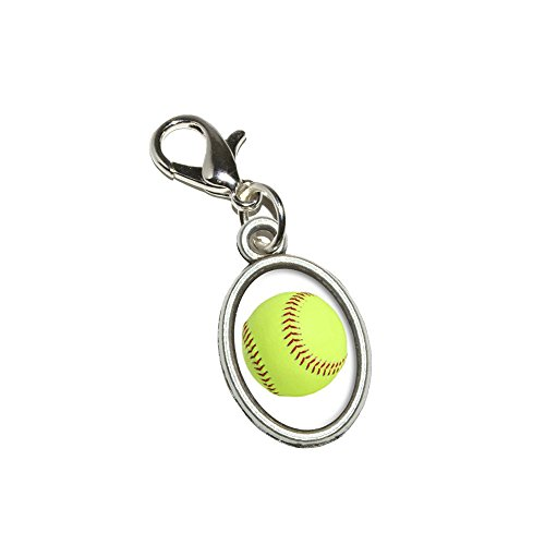 Graphics and More Softball Antiqued Bracelet Pendant Zipper Pull Oval Charm with Lobster Clasp ()