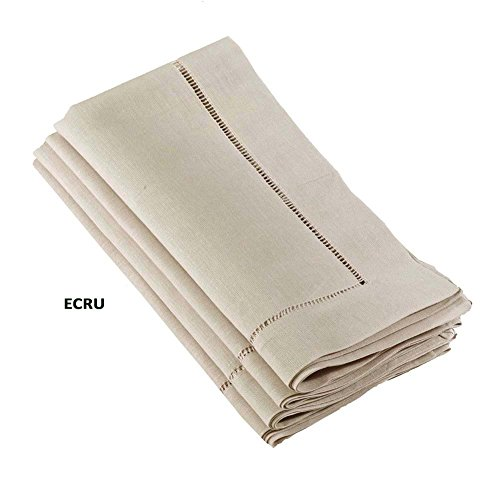 Occasion Gallery Ecru Handmade Classic Hemstitch Dinner Napkin (Set of 12), 22