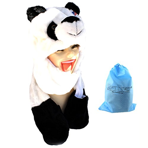 [Silver Fever® Plush Soft Animal Beanie Hat with Built-in Earmuffs, Scarf, Gloves Panda] (Fever Panda Adult Costumes)