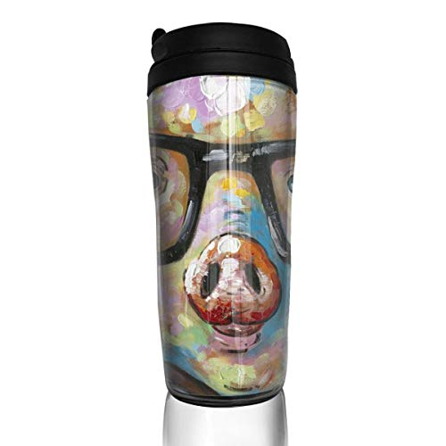 Sam-Uncle Travel Coffee Mug Oil Painting Pig Insulated Coffee Cup Thermos Water Bottle