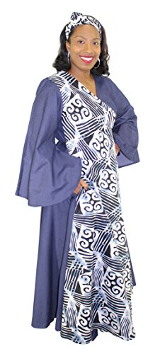 Denim Assorted Print Wrap Maxi Dress with Bell Sleeves (Gray & Blue) by African Planet (Image #2)