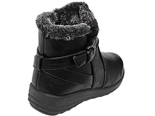 Chaussure En Confortable Daim Pointure Coussin Noir Casual Chaud Bottine Fourrure Doublure fl Taille Fausse Faux 8 Marche 3 B8q4v