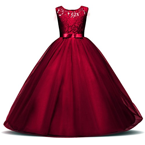 Weileenice 3-14Y Big Girls Lace Bridesmaid Dress Dance Gown A Line Dresses Long for Party Wedding (15-16Y, Wine Red) ()