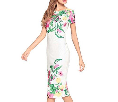 Mujeres Blanco Estampado tamaño Color Mangas sin Gasa Largo de L Mangas de Playa Las de sin Vestido HEFEI XIAOXIAO PwBpF