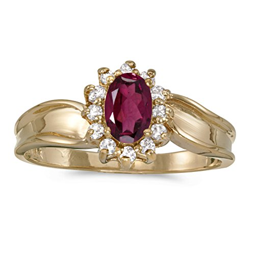 FB Jewels 14k Yellow Gold Genuine Red Birthstone Solitaire Oval Rhodolite Garnet And Diamond Wedding Engagement Statement Ring - Size 7 (1/2 Cttw.) ()