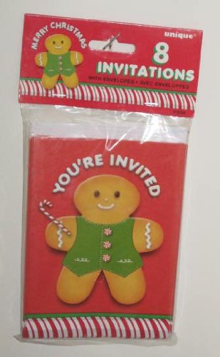 House Gingerbread Invitations Party (Christmas Holiday Party Invitation Cards & Envelopes - Gingerbread Man)