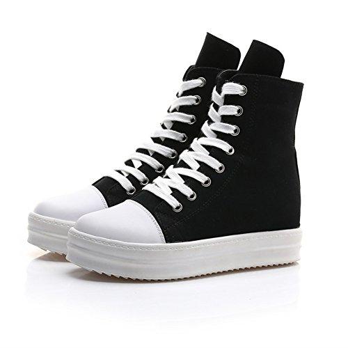Canvas Gruesa para Casual Side Zapatos Heighten Ladies de High Shoes Zapatos tamaño 2018 Lona de Zipper Negro Inferior Color Muffin Suela Shoes Grueso 36 High Spring Mujer Fall Top BxqgTUEw