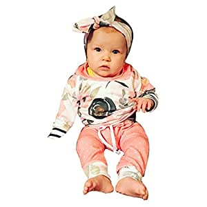 Baby Clothes Set, PPBUY Toddler Floral Striped Hooded Tops + Pants + Headband 3pcs Outfit (6-12M, Pink)