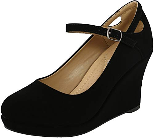 (Cambridge Select Women's Cutout Mary Jane Chunky Platform Wedge,10 B(M) US,Black NBPU)