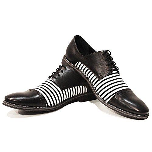 PeppeShoes Modello Ziko - Handgemachtes Italienisch Leder Herren Schwarz Oxfords Abendschuhe Schnürhalbschuhe - Rindsleder Weiches Leder - Schnüren