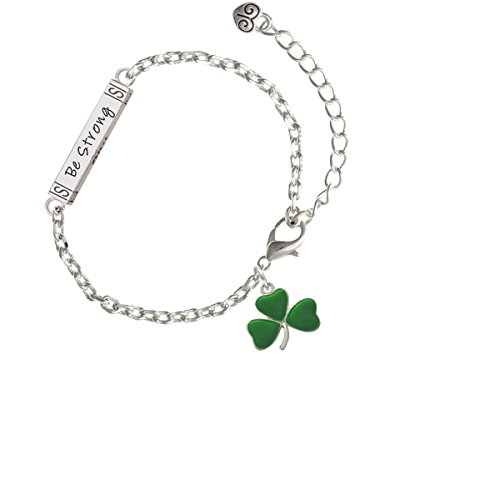 Silvertone Green Three Leaf Clover - Shamrock - Joshua 1:9 Bar Zoe Bracelet, 8