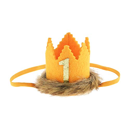 Wild One Faux Fur Baby Crown, Where The Wild Things are Party Supplies Crown for Baby First Birthday Decors (Yellow)]()