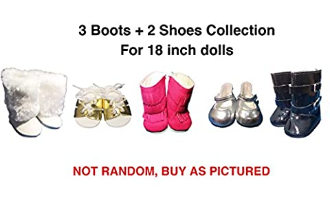 5 Pairs Shoes American Girl Doll Accessories - 18 inch Doll Clothes Accessories Set Fits American Girl, Our Generation, Journey Girls by by WEARDOLL