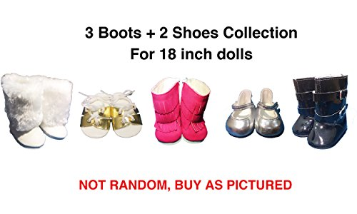 5 Pairs Shoes American Girl Doll Accessories - 18 inch Doll Clothes Accessories Set Fits American Girl, Our Generation, Journey Girls by by (Diy Dog Costume Hoodie)