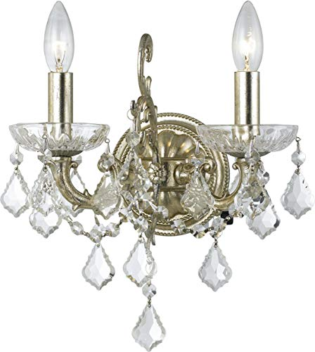 Highland Park Outdoor Light - Crystorama 5282-OS-CL-S Transitional Two Light Wall Sconce from Highland Park collection in Pwt, Nckl, B/S, Slvr.finish,